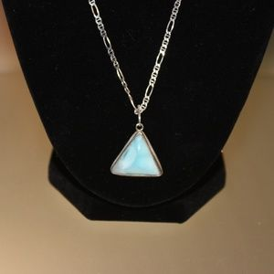 Jewelry - Triangle Larimar Pendant Sterling Silver Necklace